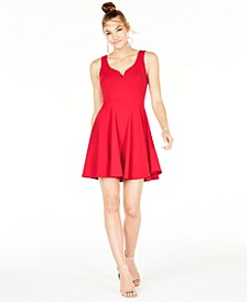 Juniors' V-Neck A-Line Dress