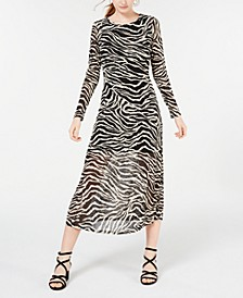 Juniors' Mesh Zebra Midi Dress