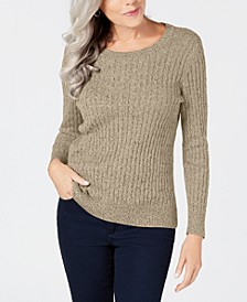 Petite Marled Cotton Cable-Knit Sweater, Created for Macy's