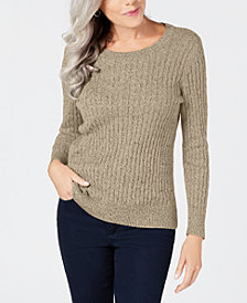 Karen Scott Petite Marled Cotton Cable-Knit Sweater, Created for Macy's