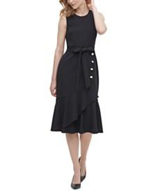 Calvin Klein Buttoned Tie-Front Dress