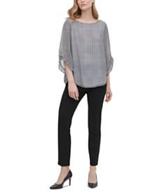 Calvin Klein Printed Ruffled Sleeve Blouse