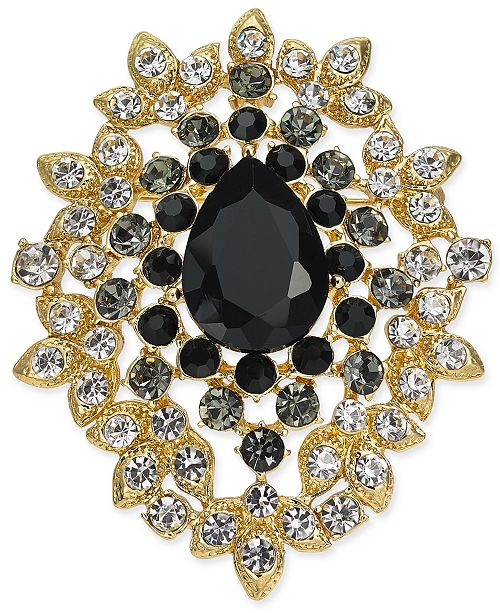 Charter Club Gold-Tone Crystal Cluster Pin, Created for Macy's