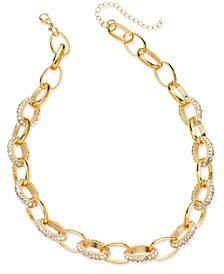 """Gold Pave Chain Link Collar Necklace, 18"""" + 3"""" extender, Created for Macy's"""