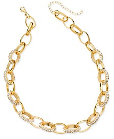 "Thalia Sodi Gold Pave Chain Link Collar Necklace, 18"" + 3"" extender, Created for Macy's"