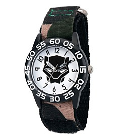 EwatchFactory Boy's Marvel's Panther Green Camo Plastic Time Teacher Strap Watch 32mm