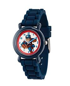 Boy's Marvel's Super Hero Adventure Captain America Blue Plastic Time Teacher Strap Watch 32mm