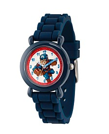 EwatchFactory Boy's Marvel's Super Hero Adventure Captain America Blue Plastic Time Teacher Strap Watch 32mm