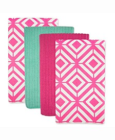 Microfiber Diamond Dishtowel Pink, Set of 4