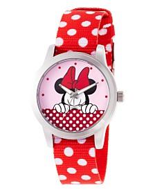 EwatchFactory Women's Disney Minnie Mouse Red Strap Watch 38mm