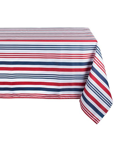 "Design Imports Patriotic Stripe Outdoor Tablecloth with Zipper 60"" x 120"""