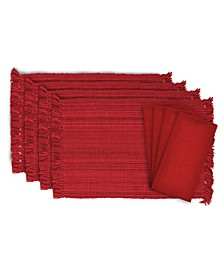 Variegated Fringe Placemat and Napkin, Set of 8