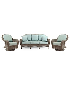 Sandy Cove Outdoor Wicker 3-Pc. Seating Set (1 Sofa and 2 Swivel Gliders), with Sunbrella® Cushions, Created for Macy's