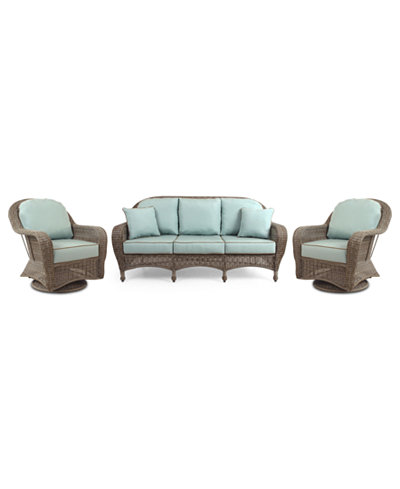 Sandy Cove Outdoor Wicker 3-Pc. Seating Set (1 Sofa and 2 Swivel Gliders), Created for Macy's