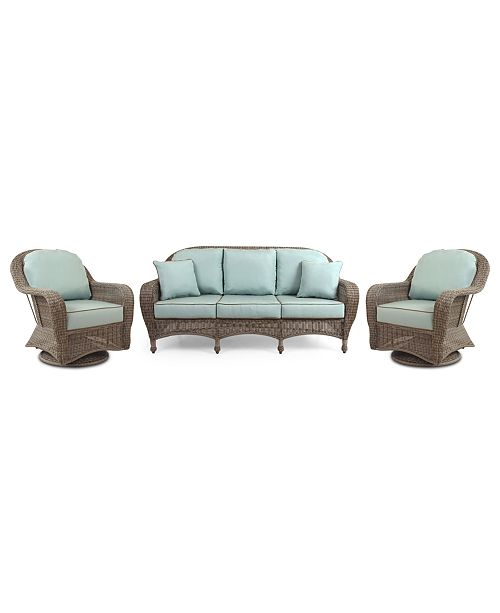 Furniture Sandy Cove Outdoor Wicker 3-Pc. Seating Set (1 Sofa and 2 Swivel Gliders), Created for Macy's