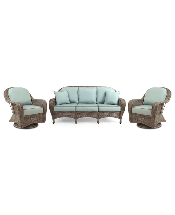 Furniture Sandy Cove Outdoor Wicker 3-Pc. Seating Set (1 Sofa and 2 Swivel Gliders), with Sunbrella® Cushions, Created for Macy's