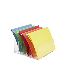 5 Compartment Acrylic File Holder, File Folder Sorter