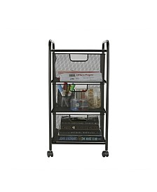 Mind Reader 3 Drawer Rolling Storage Utility Cart