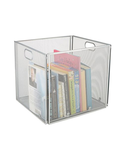 Mind Reader Mesh File Box With Handle, Collapsible Storage Basket