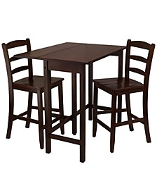 Wood Lynnwood 3-Piece Drop Leaf High Table with 2 Counter Ladder Back Stool/Chair