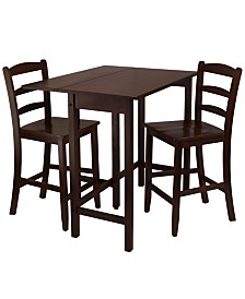 Winsome Wood Lynnwood 3-Piece Drop Leaf High Table with 2 Counter Ladder Back Stool/Chair