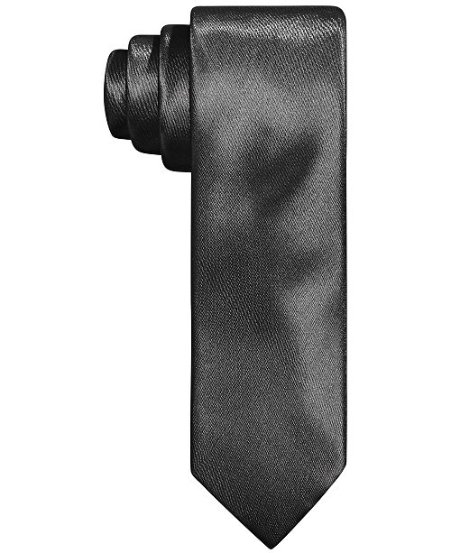 Tallia Men's Slim Charcoal Textured Tubular Tie