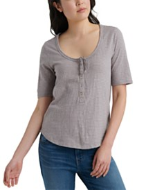 Lucky Brand Cotton Striped Button-Neck Top