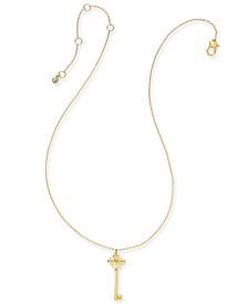 "Gold-Tone Pavé Key Pendant Necklace, 16"" + 3"" Extender"