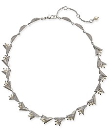 "Silver-Tone Pavé & Imitation Pearl Flower Collar Necklace, 17"" + 3"" extender"