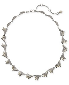 "Kate Spade New York Silver-Tone Pavé & Imitation Pearl Flower Collar Necklace, 17"" + 3"" extender"