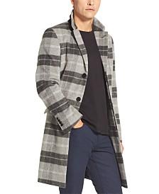 DKNY Men's Plaid Top Coat
