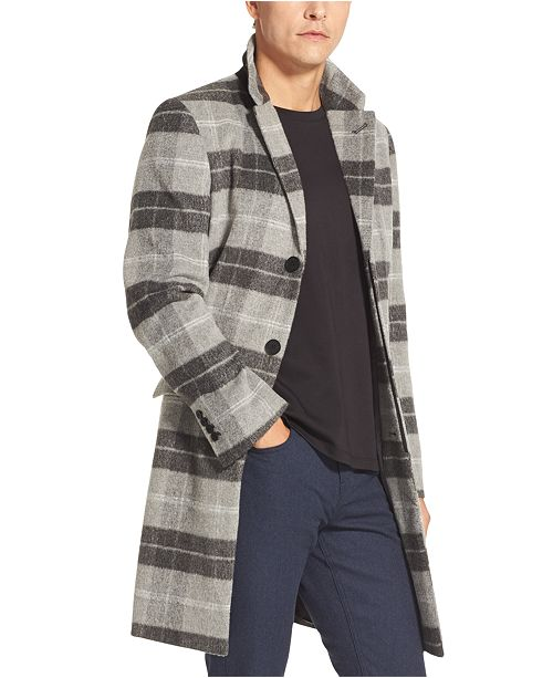 DKNY Men's Plaid Top Coat