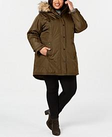 Juniors' Plus Size Hooded Faux-Fur-Trim Parka