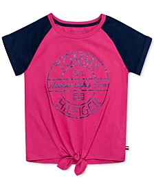 Tommy Hilfiger Little Girls Logo-Print Tie-Front T-Shirt