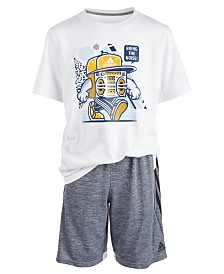adidas Big Boys Noise-Print Cotton T-Shirt & 4KRFT Melange Shorts