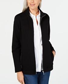 Karen Scott Stand-Collar Zip-Front Jacket, Created for Macy's