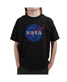 LA Pop Art Big Boy's Word Art T-Shirt - NASA's Most Notable Missions