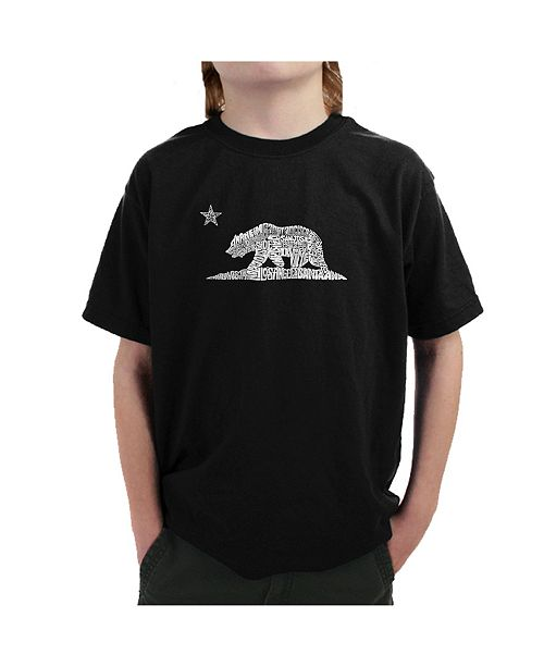 LA Pop Art Big Boy's Word Art T-Shirt - California Bear