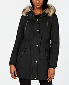 Hooded Faux-Fur-Trim Anorak
