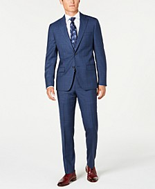 Men's Modern-Fit Stretch Blue/Red Plaid Suit Separates