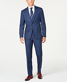 DKNY Men's Modern-Fit Stretch Blue/Red Plaid Suit Separates