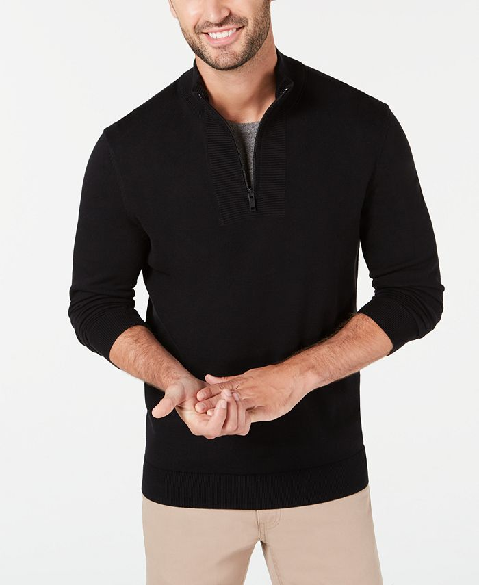 Alfani - Men's Quarter-Zip Ribbed Placket Sweater
