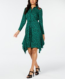 Thalia Sodi Printed Handerkerchief-Hem Shirtdress, Created for Macy's