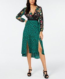 Thalia Sodi Surplice Mixed-Print Dress, Created for Macy's