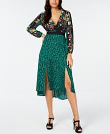Thalia Sodi Surplice Mixed-Print Dress, Created for Macy's