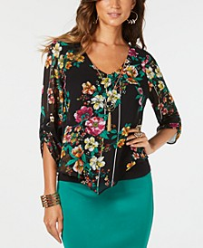 Printed Layered Ruched-Sleeve Necklace Top, Created for Macy's