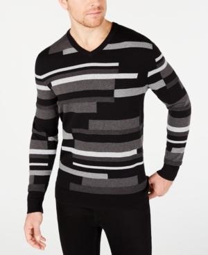 Men's Vintage Sweaters, Retro Jumpers 1920s to 1980s Alfani Mens Textured Striped V-Neck Sweater Created for Macys $75.00 AT vintagedancer.com