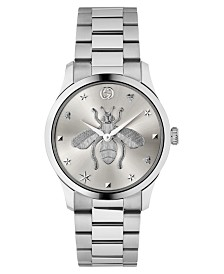 LIMITED EDITION Gucci Swiss G-Timeless Stainless Steel Bracelet Watch 38mm, Created for Macy's