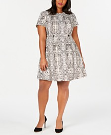 City Studios Trendy Plus Size Snake-Embossed A-Line Dress