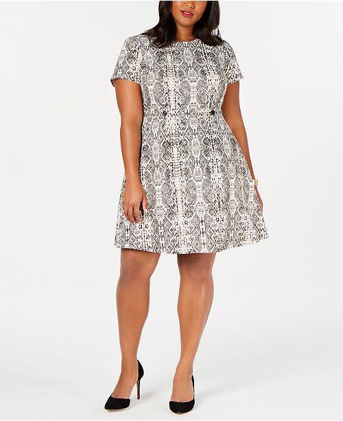 City Studios Trendy Plus Size Snake-Embossed A-Line Dress